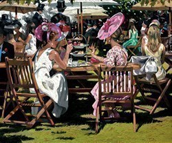 Afternoon Tea at Ascot by Sherree Valentine Daines - Canvas on Board sized 24x20 inches. Available from Whitewall Galleries